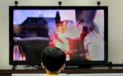 Student watching television