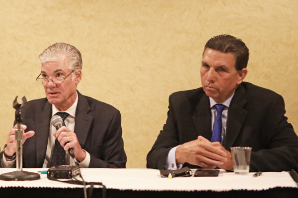 Tom Torlakson (left) and OC Superintendent Al Mijares discuss school safety issues during panel.