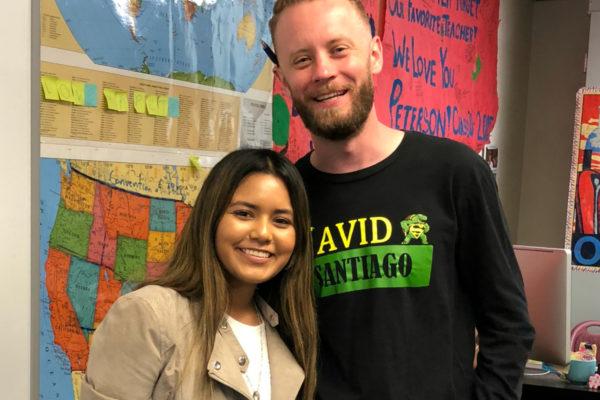 Student Aubree Lopez and teacher Erik Peterson