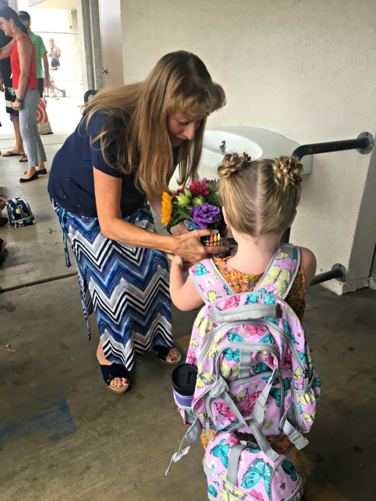 Student returning to Moffett Elementary School