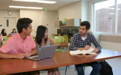 Irvine Valley College students Julian Brito, Katrina Dagg and Omid Mohammadi