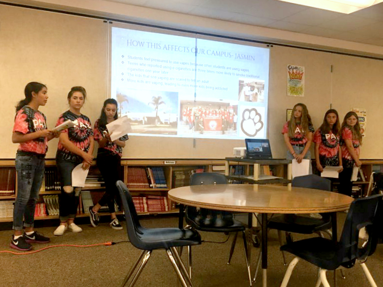 Newhart Middle School student leaders take aim at the rise in vaping among youth