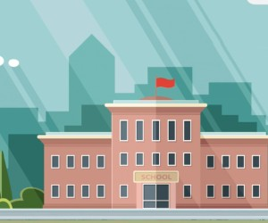 An animated graphic showing a school