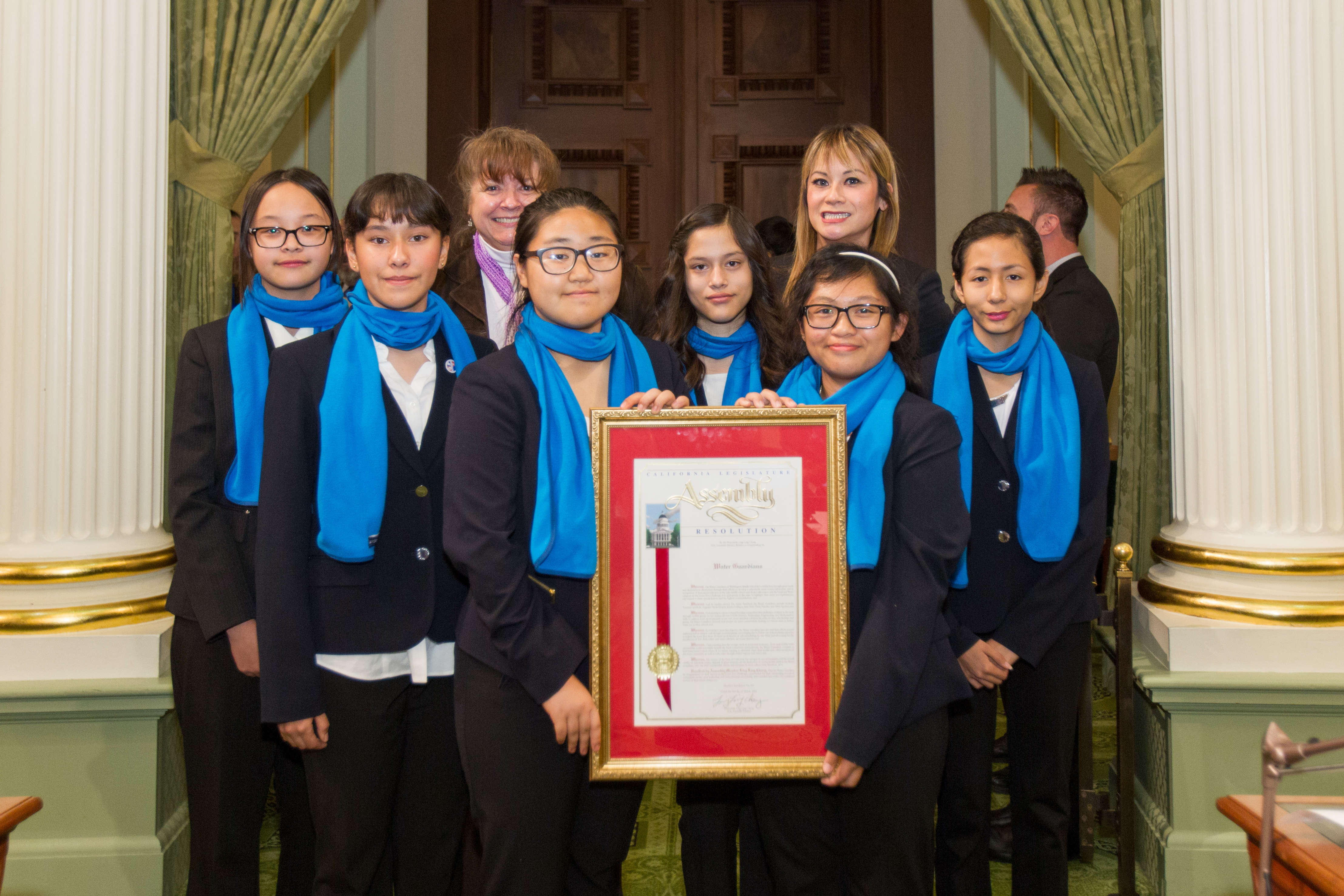 Students from Washington Middle School in La Habra being honored in Sacramento