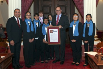 Students from Washington Middle School in La Habra being honored by state Senator Bob Huff