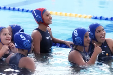 An image of water polo players from Valley High School in Santa Ana