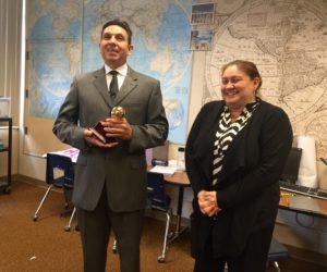 An image of Orange County Superintendent Al Mijares with Orange County Teacher of the Year Raquel Solorzano-Duenas