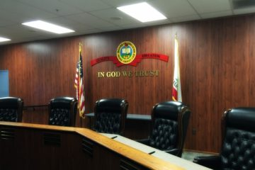 An image of the Orange County Board of Education boardroom