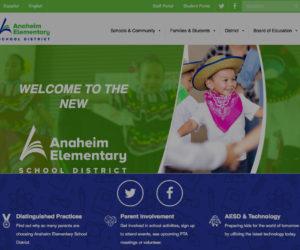 A screenshot of the Anaheim Elementary School District's new website