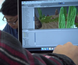 An image of a student working on a computer in the Brea Olinda Unified School District