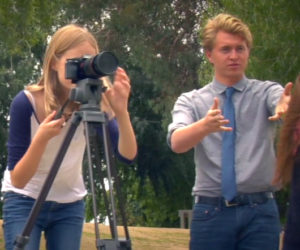 An image of Nick, an OC Pathways student, directing a scene as part of a filmmaking course