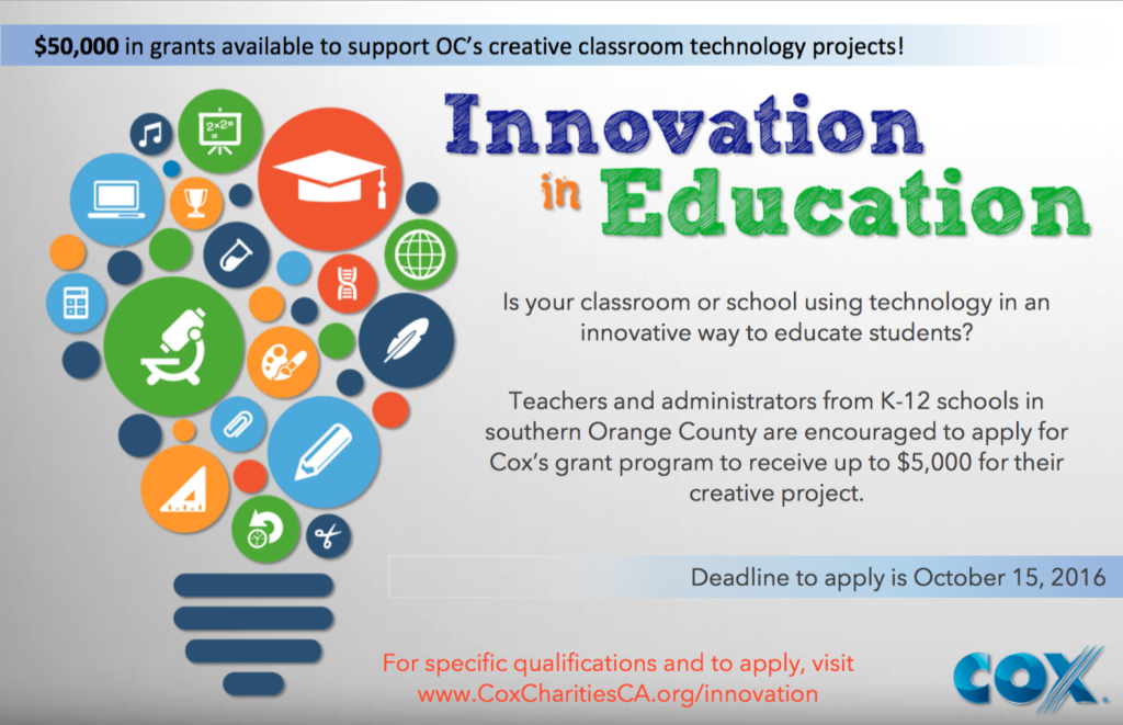 Cox Communications' Innovation in Education grant program poster