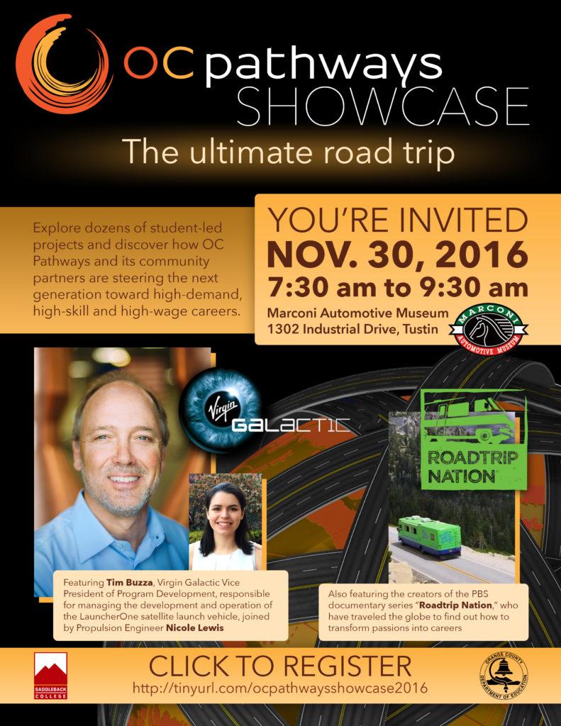 The invitation to the OC Pathways Showcase on Nov. 30