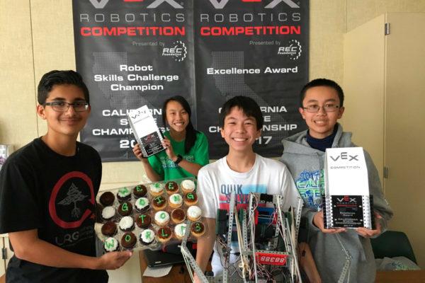 Students on the robotics team at Orchard Hills School