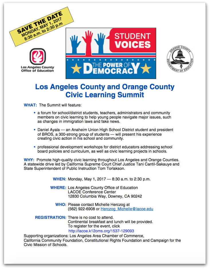 Civic Learning Summit flier