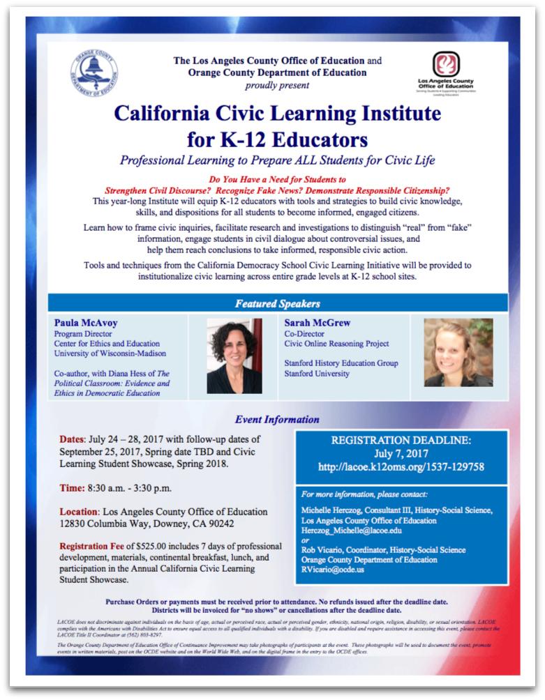 California Civic Learning Institute flier