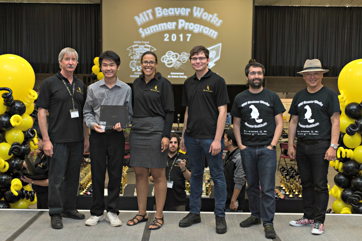 Matthew Tang, second from left, is recognized at the 2017 MIT Beaver Works Summer Institute