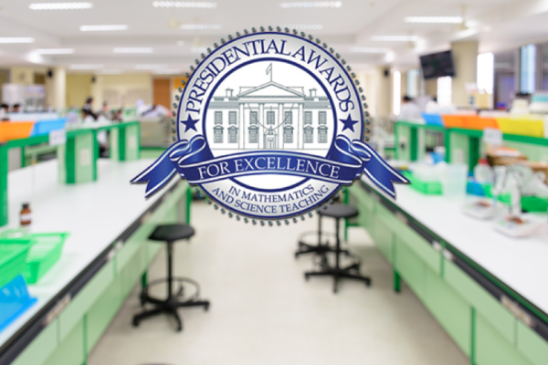 Presidential Awards for Excellence in Mathematics and Science Teaching logo over blurred science lab