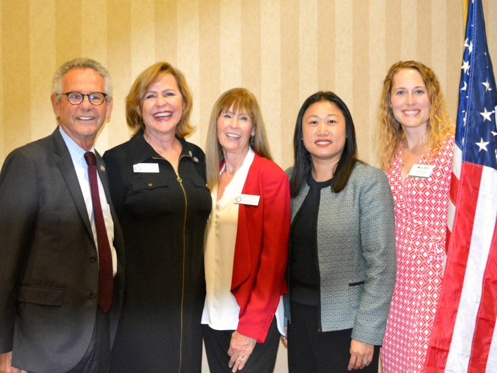 From left: Congressman Alan Lowenthal, Superintendent Dr. Sherry Kropp, Board of Education President Meg Cutuli, State Senator Janet Nguyen, and LAEF Executive Director Carrie Logue.