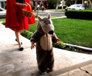 Child in a wolf costume