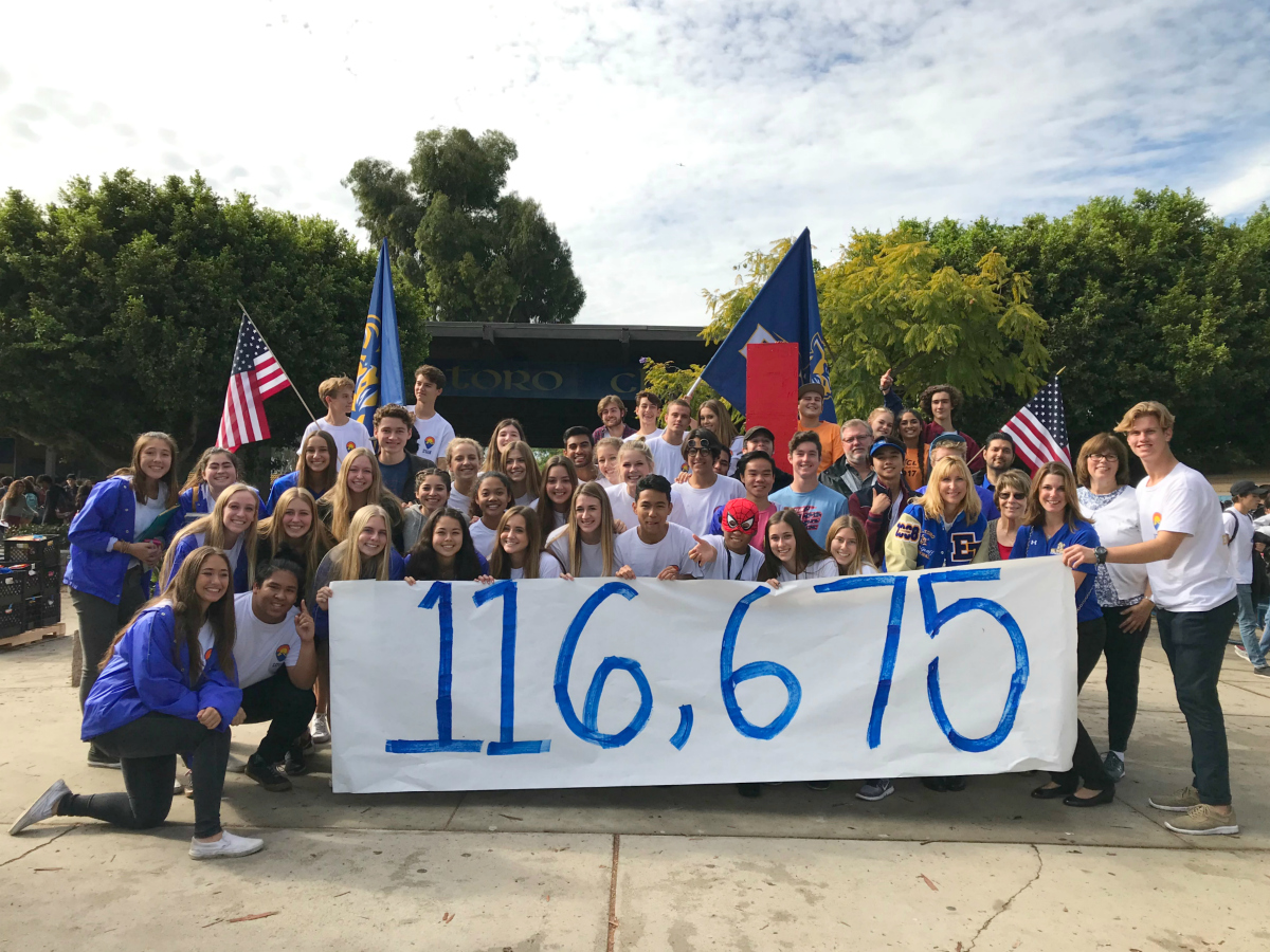 "El Toro High students hold a banner that reads ""116,657"""