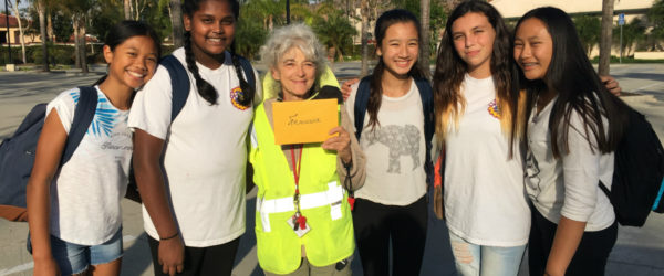 Pioneer Middle School students with their crossing guard