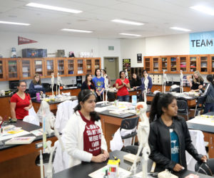 science classroom filled with high school students