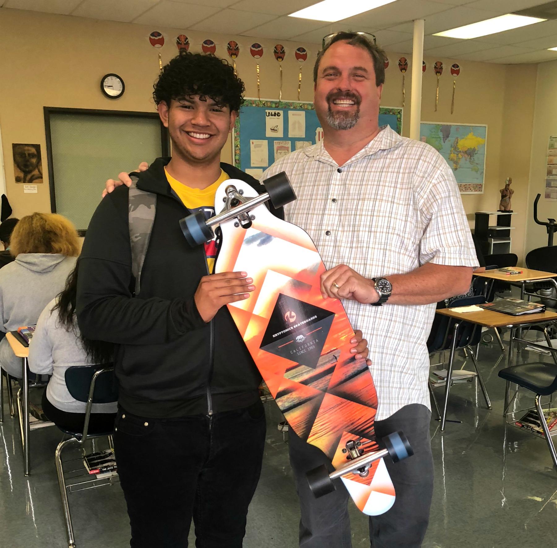 OCDE students earn skateboards for hitting attendance goals