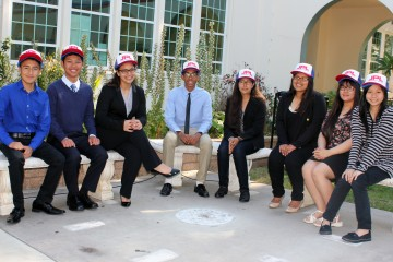 Santa Ana students wearing JPL hats