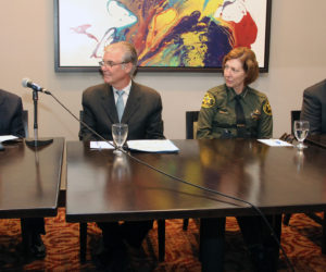 Orange County Superintendent of Schools Dr. Al Mijares, State Superintendent of Public Instruction Tom Torlakson, Orange County Sheriff-Coroner Sandra Hutchens and California Interscholastic Federation Executive Director Roger Blake meet for a news conference to discuss school safety