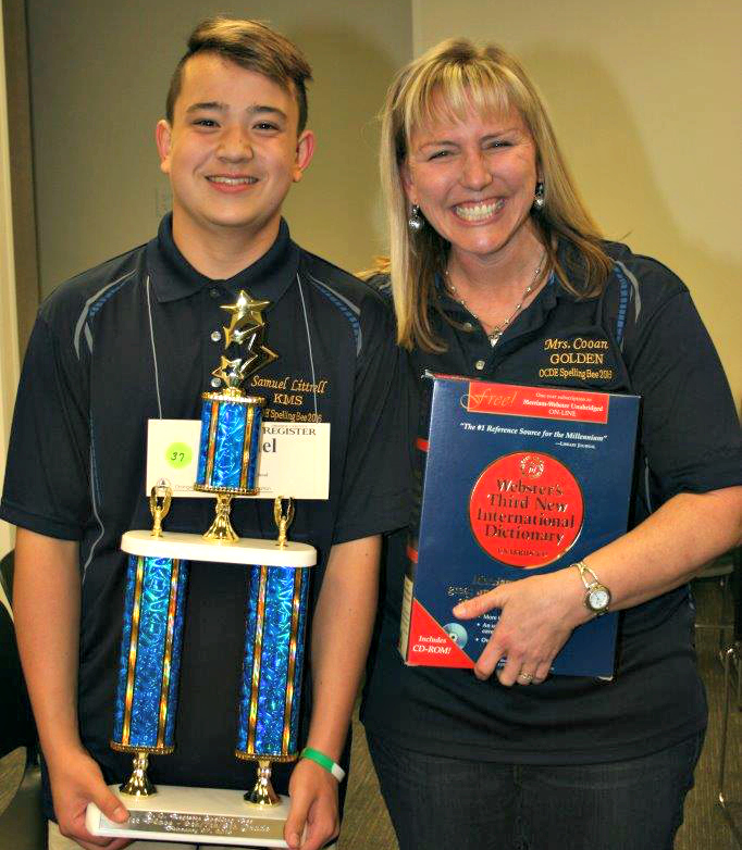 For the second time in two years, Samuel Littrell from Kraemer Middle School in the Placentia-Yorba Linda Unified School District is the Orange County Spelling Bee champ. He's pictured here with his sixth-grade teacher, Kristi Cooan, who coached him to his win back in 2014.