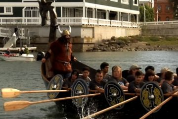 An image showing the maiden voyage of the viking ship constructed at Marina High School