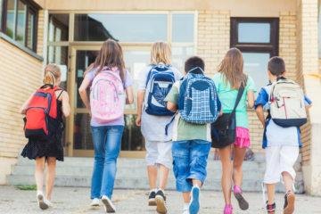 An image of students walking to school