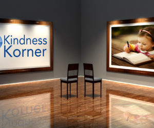 Kindness Korner logo with an image of a girl writing in a book