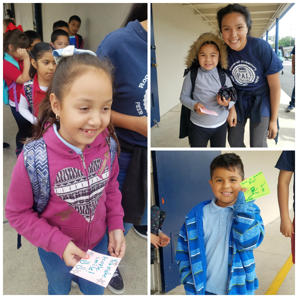Collage of students receiving kindness notes at Roosevelt