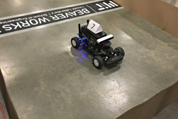 An autonomous vehicle programmed by Matthew Tang and his team at the 2017 MIT Beaver Works Summer Institute