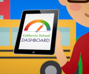 Animation of an avatar holding up a tablet displaying the California School Dashboard